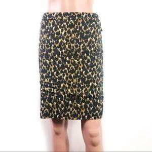 Ann Taylor Animal Print Pencil Skirt Size 2P
